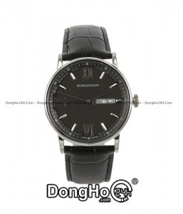 romanson-tl1275mwbk-nam-quartz-pin-day-da-chinh-hang